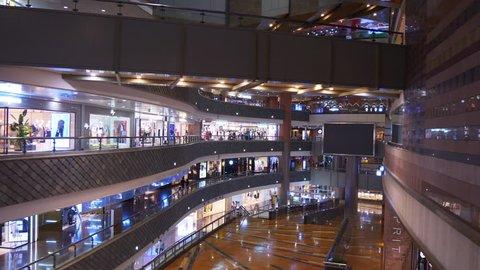 SHANGHAI, CHINA - SEPTEMBER 20 2017: shanghai city famous mall main hall interior panorama 4k circa september 20 2017 shanghai, china.