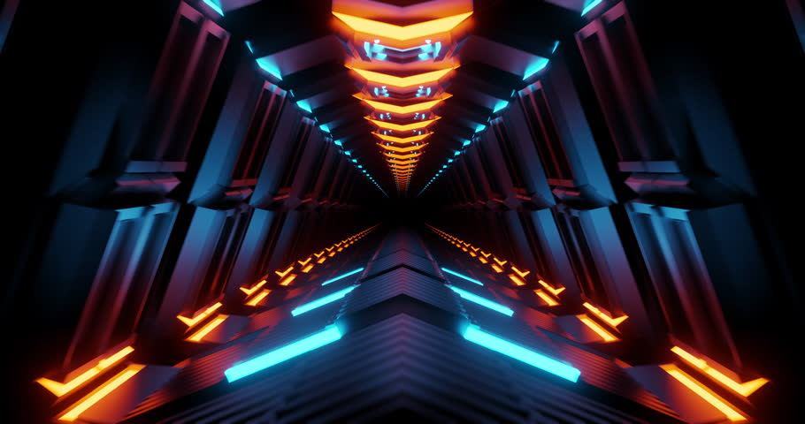 4K seamless loop flying into spaceship tunnel, sci-fi spaceship corridor. Futuristic technology abstract seamless VJ for tech titles and background. Motion graphic for internet, speed. 3D render | Shutterstock HD Video #1026645647