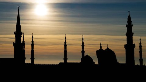 Masjid Al Nabawi or Mosque of the Prophet at Sunset, Medina, Saudi Arabia