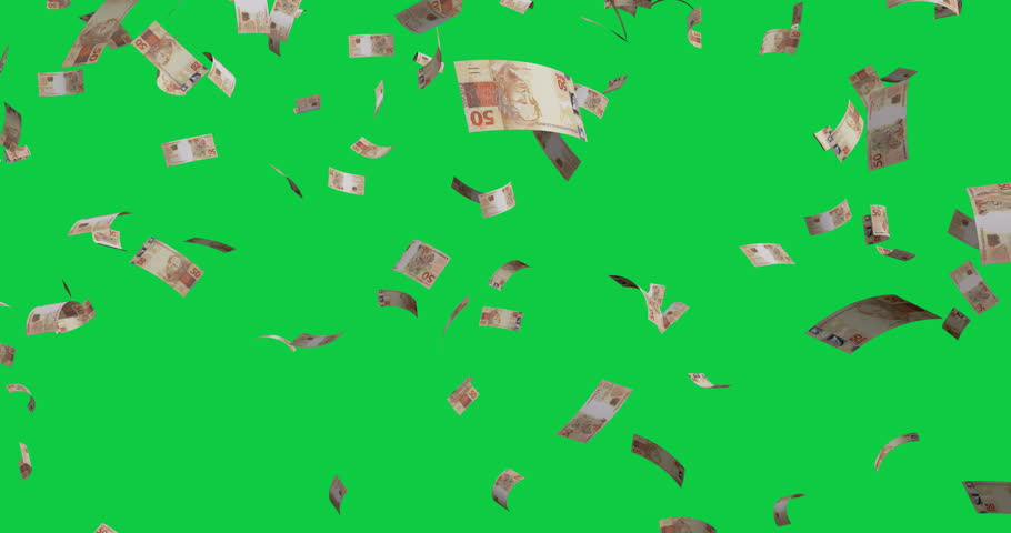 Flying 50 Brazilian real banknotes - 4K 60fps 3d render Isolated on green background | Shutterstock HD Video #1026720977