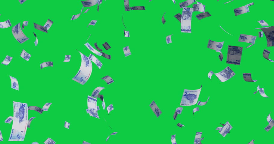 Flying 2 Brazilian real banknotes - 4K 60fps 3d render Isolated on green background | Shutterstock HD Video #1026721007