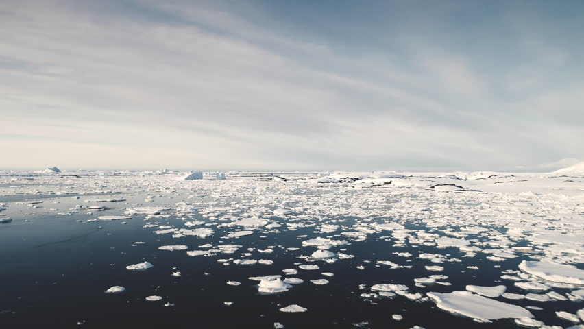 Antarctica Surf Open Water Seascape Aerial View. Majestic North Polar Ocean Horizon Panorama Overview. Wild Antarctic Nature Scenery Global Warming Concept Drone Shot Footage 4K (UHD) | Shutterstock HD Video #1026726647