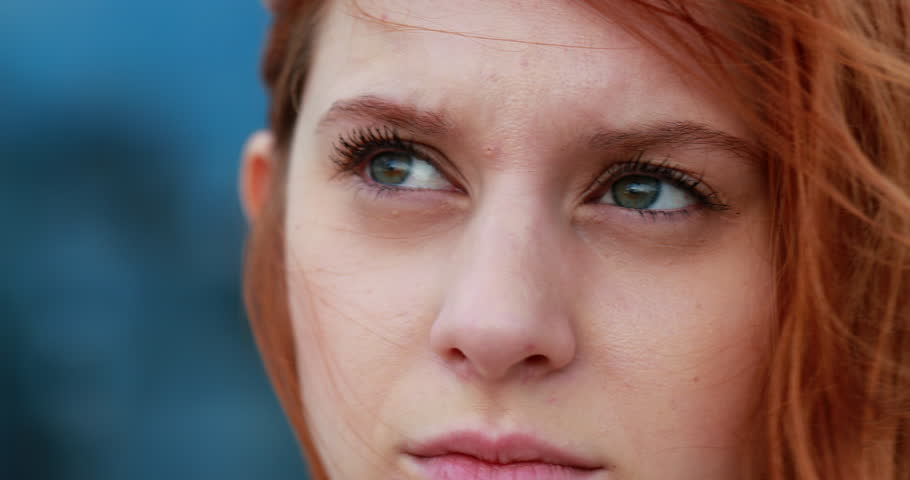 Young woman face thinking concerned about something | Shutterstock HD Video #1026733277