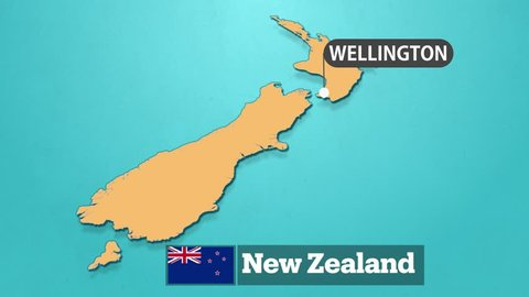 New Zealand Map with flag