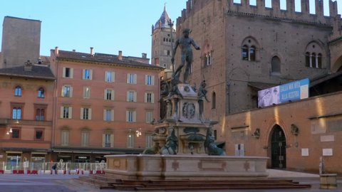 bologna,italy,15/05/2015: neptune fountain daylight no people steady cam shot