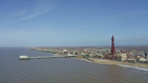 Stunning aerial view of Blackpool Tower  from the sea of the award winning Blackpool beach, A very popular seaside tourist location in England , United Kingdom, UK
