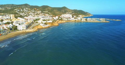 Barcelona. Aerial view of SItges. Spain. 4k Drone Video