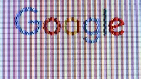 MOSCOW, RUSSIA- CIRCA April 2018: Close up of computer screen with Google search homepage. Macro view of internet web page with search engine logo