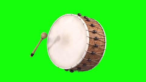 ramadan drum playing animation green screen isolated 3d render