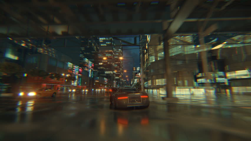 3d fake Video Game. Racing simulation. night city. lights after rain. part 2 of 2. | Shutterstock HD Video #1026988457