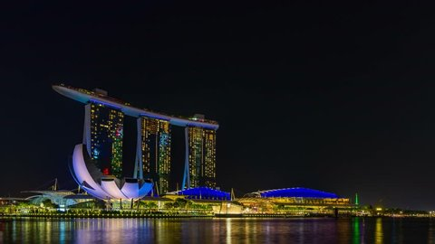 SINGAPORE CITY, SINGAPORE - MARCH 4, 2019: Spectra Light and Water Show Marina Bay Sand Casino Hotel Downtown Singapore