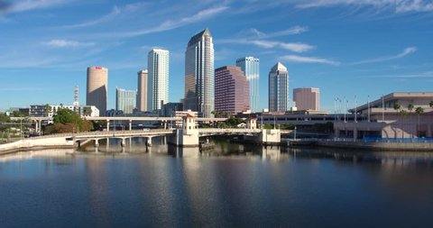 Tampa Bay & Skyline Over the Water, Aerial Drone