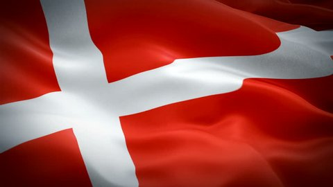 Danish flag Closeup 1080p Full HD 1920X1080 footage video waving in wind. National 3d Danish flag waving. Sign of Denmark seamless loop animation. Danish flag HD resolution Background 1080p