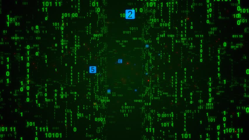 Digital fly binary code background loop. Data binary code network. 4K loop animation. Green version. See more video in my portfolio | Shutterstock HD Video #1027066787