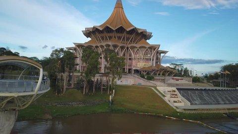 "Sarawak, Malaysia - April 2019. Cinematic shot of Sarawak Legislative Building or ""Dewan Undangan Negeri Sarawak"""