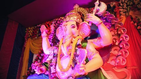 Indian God almighty Lord Ganesha or Ganpati Chaturthi festival with colorful lights