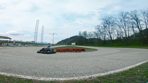 Blagoevgrad, Bulgaria - 22 May, 2018: Man drive go-kart karting fast on U curve turn