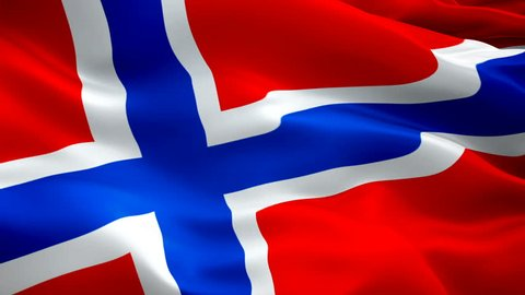 Norwegian flag Closeup 1080p Full HD 1920X1080 footage video waving in wind. National Oslo 3d Norwegian flag waving. Sign of Norway seamless loop animation. Norwegian flag HD resolution Background 108