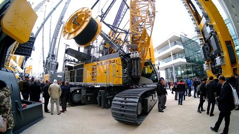munich, germany, 08 april 2019, bauma, world's biggest exhibition for construction equipment, liebherr exhibition, slow motion video