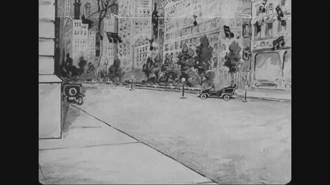 CIRCA 1910s - In this animated film, Uncle Sam acts as a Pied Piper, harkening marching food to join his army.