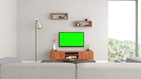 Interior of room with TV and sofa with  track green screen - 3D Rendering