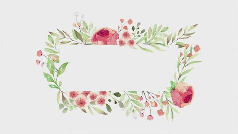 Watercolor flowered frame for scrping design on white background. Loop animation.