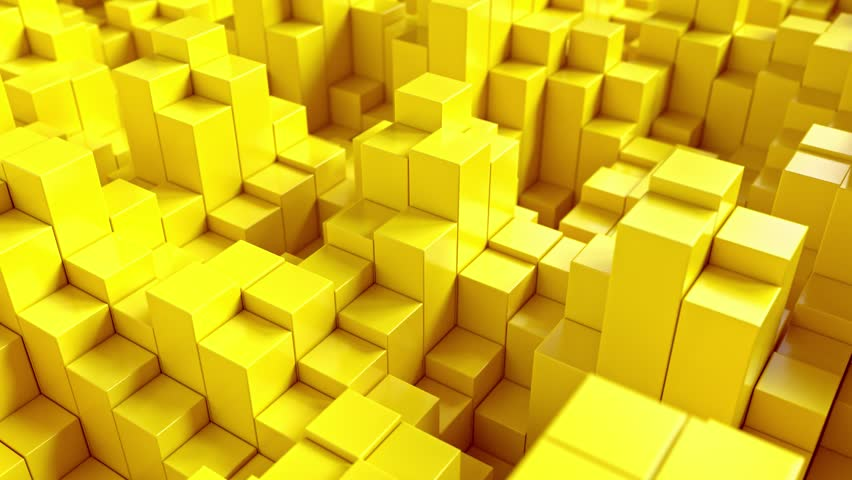 Abstract backgroud with yellow moving cubes. | Shutterstock HD Video #1027431917