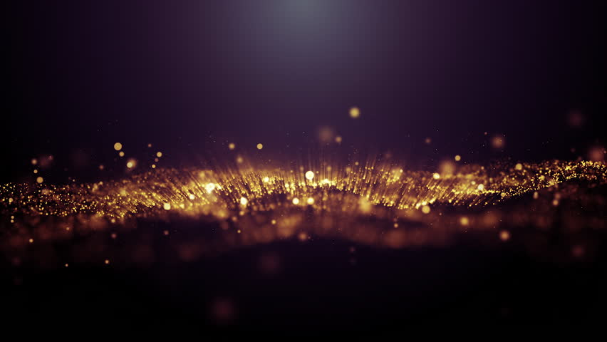 4k Abstract rendered Loop Particles gold glitter on black background. | Shutterstock HD Video #1027507007