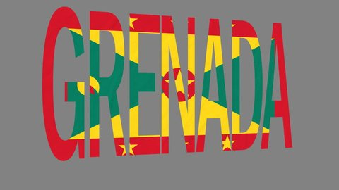 """The animated letters of the word """"Grenada"""" in national colors are fluttering like a flag in the wind. This clip has an additional alpha matte that allows to get the background transparent."""