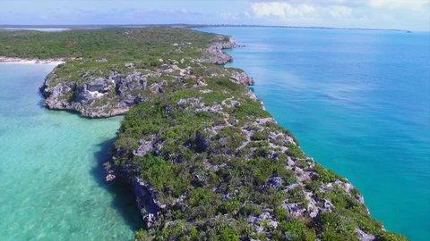 Pirates Cove Turks and Caicos aerial of beautiful coastline in the caribbean sea