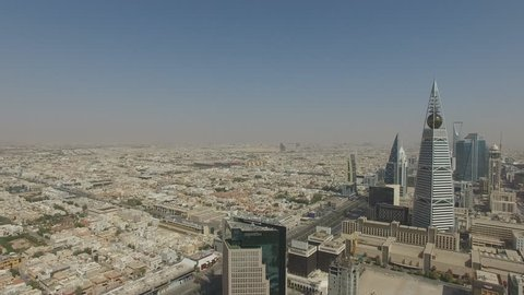 Aerial view of Riyadh downtown in Riyadh, Saudi Arabia.