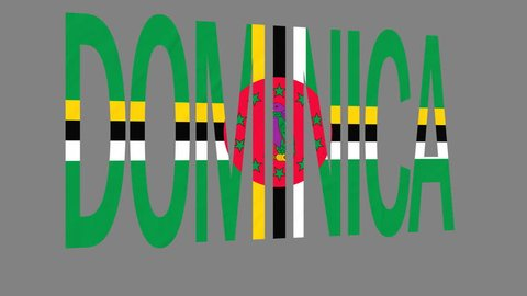 """The animated letters of the word """"Dominica"""" in national colors are fluttering like a flag in the wind. This clip has an additional alpha matte that allows to get the background transparent."""