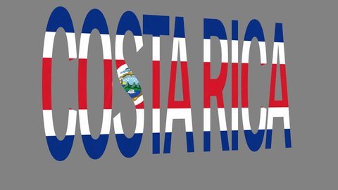 """The animated letters of the word """"Costa Rica"""" in national colors are fluttering like a flag in the wind. This clip has an additional alpha matte that allows to get the background transparent."""