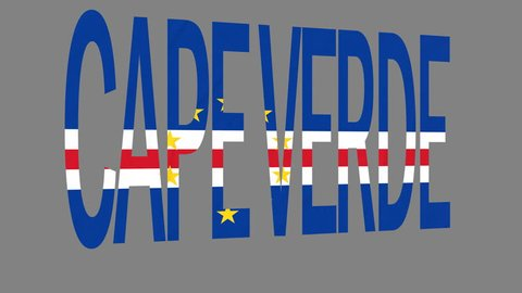 """The animated letters of the word """"Cape Verde"""" in national colors are fluttering like a flag in the wind. This clip has an additional alpha matte that allows to get the background transparent."""