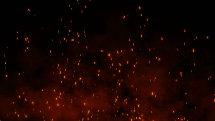 Burning hot bonfire fire sparks on a dark background. Cartoon fire Animation. Raging Cartoon Campfire Flames.Particles over black background.Flying Embers from fire. | Shutterstock HD Video #1027553177