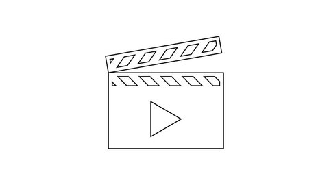 Grey Movie clapper line icon on white background. Film clapper board icon. Clapperboard sign. Cinema production or media industry concept. 4K Video motion graphic animation