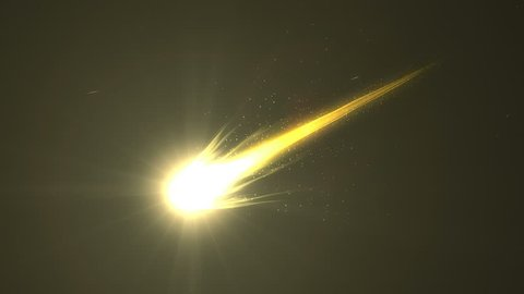Brilliant bright beautiful close up view gold comet, Iron element.