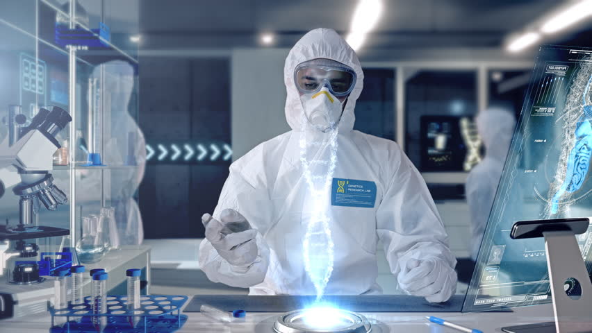 Male Scientist analyzing and interacting with a 3D Rotating DNA Molecule Hologram in a Secure High Level Modern Laboratory. Genetic Engineering Research Facility. | Shutterstock HD Video #1027636367
