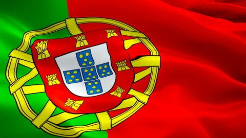Portugal flag Motion Loop video waving in wind. Realistic Portuguese Flag background. Portugal Flag Looping Closeup 1080p Full HD 1920X1080 footage. Portugal EU European country flags footage video fo
