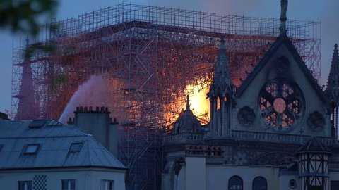 FRANCE, PARIS, April 15th 2019 cathedral Notre-Dame de Paris in Fire
