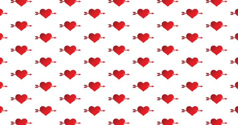 Heart with arrow icons background motion backdrop in a seamless repeating loop.  Cupid's arrow through heart love & romance themed gradient red hearts background CGI high definition motion video clip