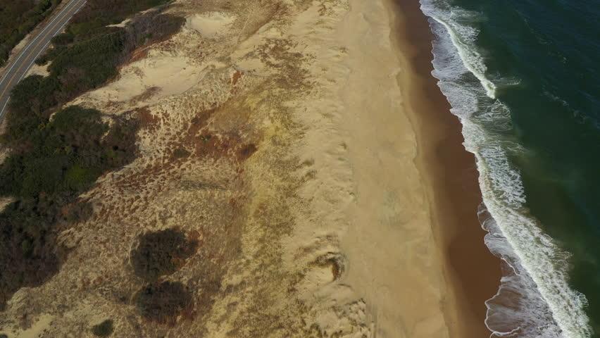 4k Aerial Drone shot, Sandbridge Virginia beach coastline