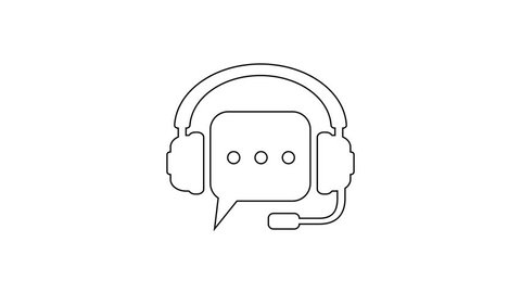 Grey Headphones with speech bubble line icon on white background. Support customer services, hotline, call center, guideline, faq, maintenance, assistance. 4K Video motion graphic animation