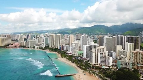 Hawaii Aerial Drone View of Waikiki Beach of Honolulu.mp4
