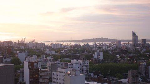 Beautiful sunset time lapse of Montevideo Uruguay port