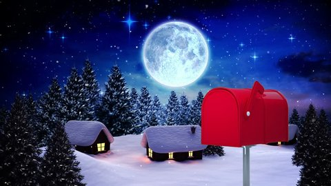 Digitally generated animation of red mailbox sending out letters in a small village at night and background includes small lit house, moon, and Santa Claus and the reindeers