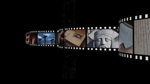 Digitally generated animation of film strip with different videos about religion moving across the screen in gray background with film reel