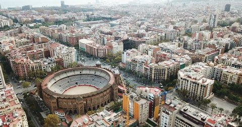 Aerial view of Eixample district and La Monumental, bullfighting arena of Barcelona, Catalonia, Spain
