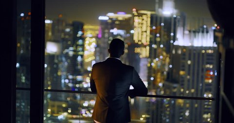 Successful Young Man Looking At Business Buildings Skyline Urban Landscape Digital Nomad Freedom Night Financial District Slow Motion Red Epic 8k