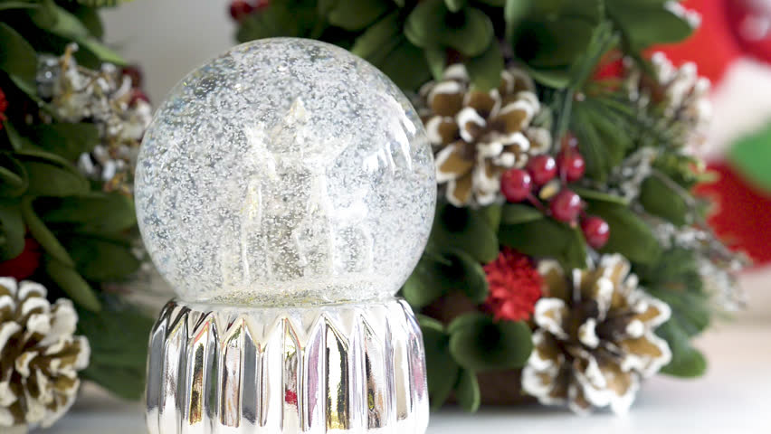 Snowglobe with deers on Christmas background. Flat plane